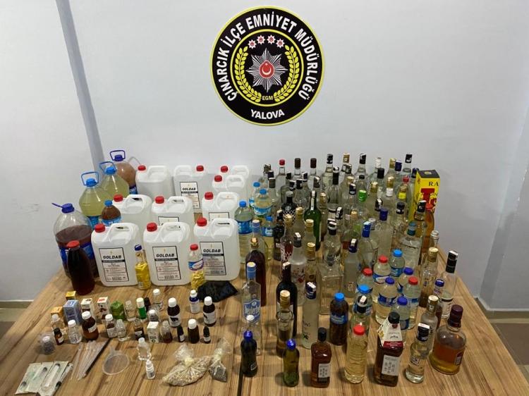 Çınarcık'ta Sahte İçki İmalathanesine Operasyon