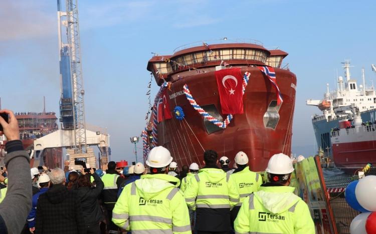 Norveç'e Üretilen Gemi Denize İndirildi